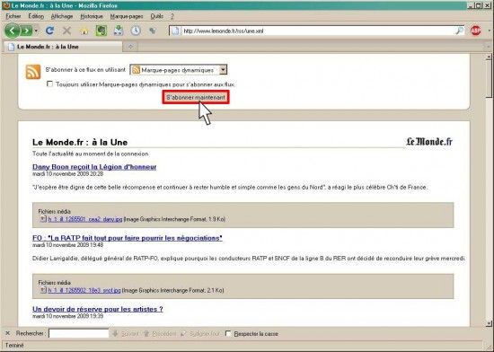abo RSS marque page dynamique