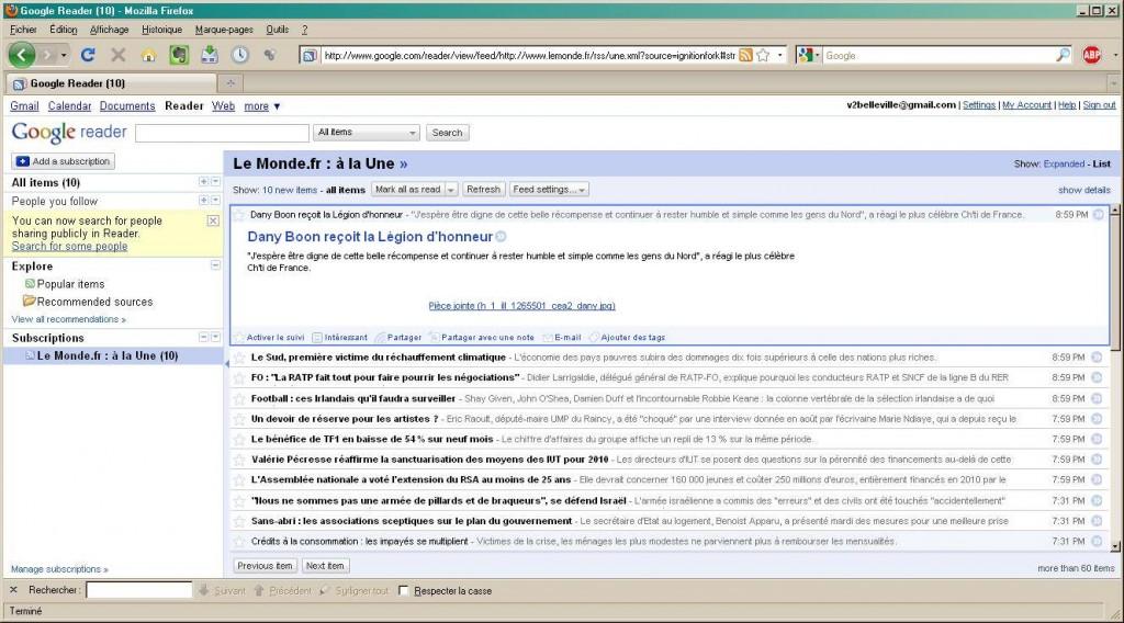 flux de la Une du Monde dans Google reader